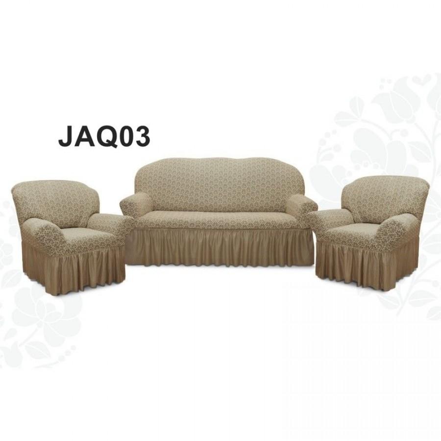 Set huse multielastice jacquard, cu volan, pentru canapea 3 locuri si 2 fotolii