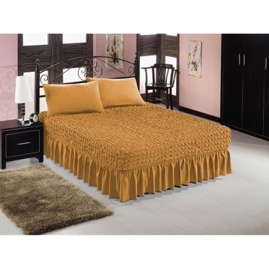 Husă pat cu 2 fețe de pernă –culoare Mustar - Huse cu Volane - casaeva.ro