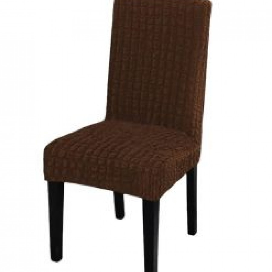 Husa scaun fara volane din bumbac elasticizat, Maro inchis - Huse fara Volane - casaeva.ro