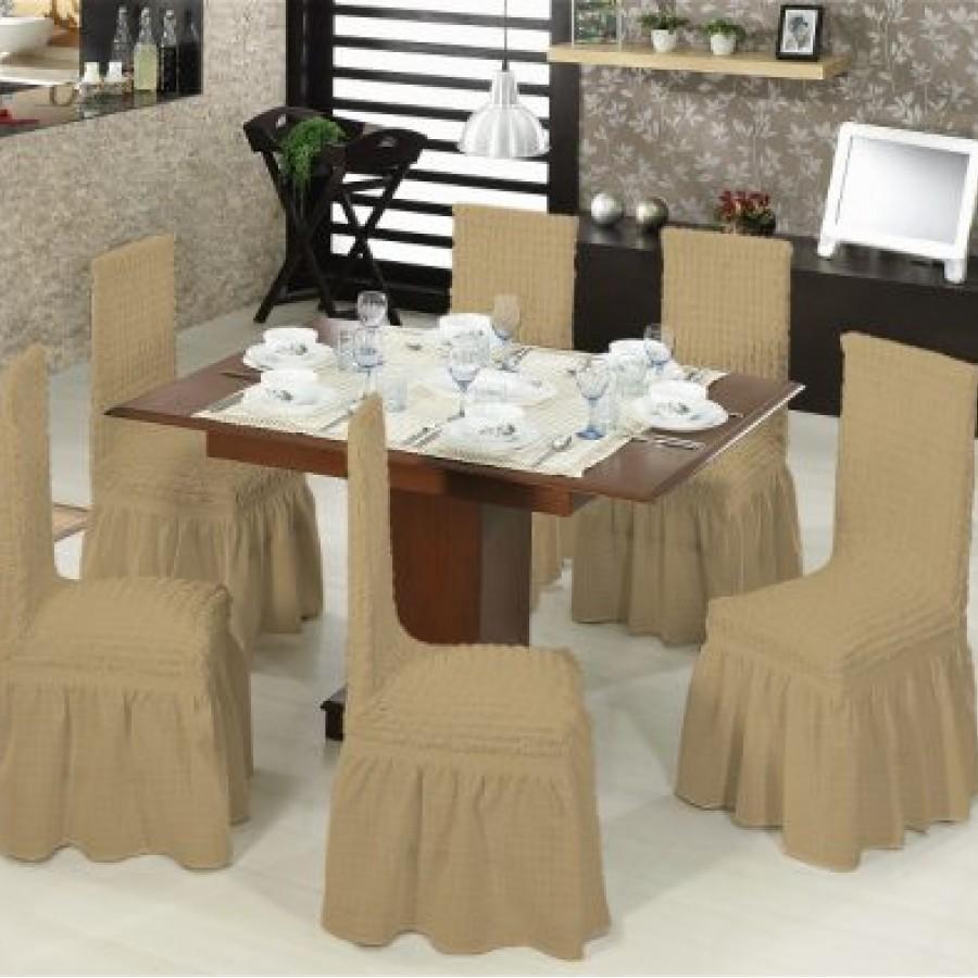 Set 2 huse scaune cu volane din bumbac elasticizat , Bej Inchis - Huse cu Volane - casaeva.ro