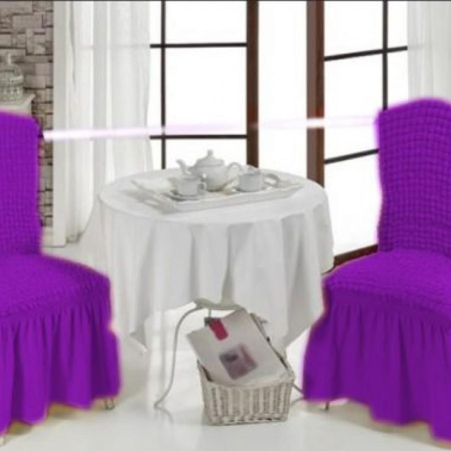 Set 2 huse scaune cu volane din bumbac elasticizat , Mov - Huse cu Volane - casaeva.ro