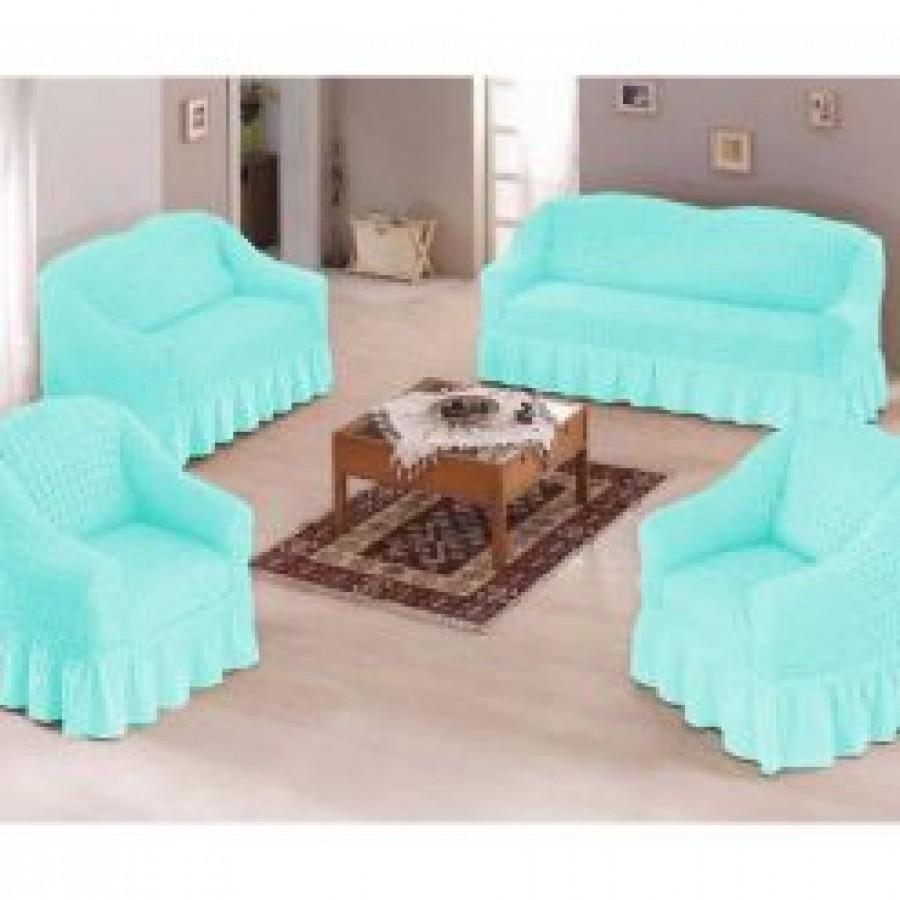 Set 3+2+1 – 3 huse pt 2 canapele si 1 fotoliu, culoare bleu - Seturi Huse cu Volane - casaeva.ro