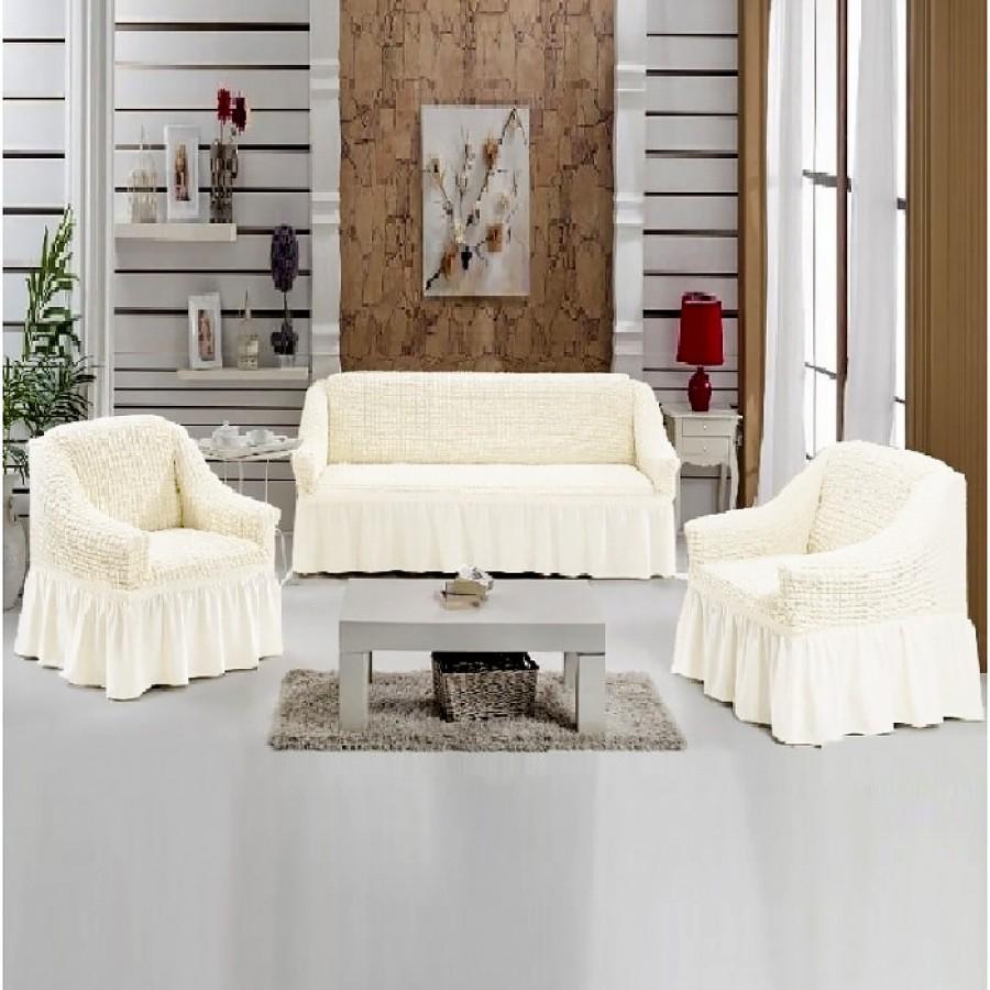 Set 4 piese, 3211, huse canapele 3 locuri si 2 locuri, 2 fotolii, culoare alb - Seturi Huse - casaeva.ro