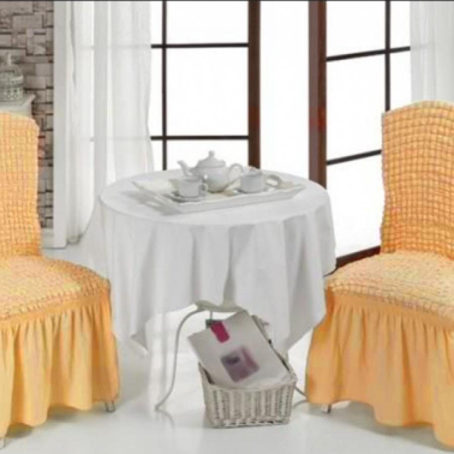 Set 6 huse creponate pentru scaune cu volanase, culoare MUSTAR DESCHIS - Huse cu Volane - casaeva.ro