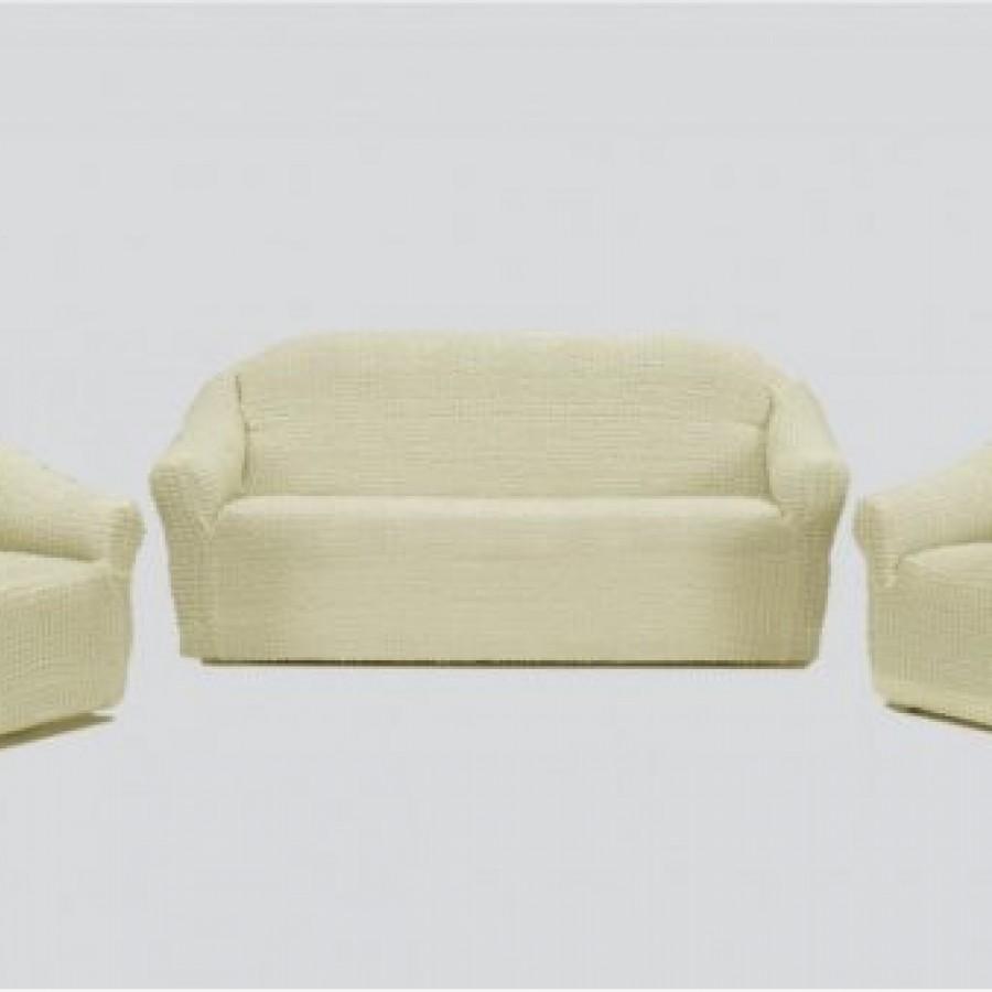 Set huse 3211, pentru canapele 3 locuri , 2 locuri si 2 fotolii, elastice, fara volane , Alb - Seturi Huse - casaeva.ro